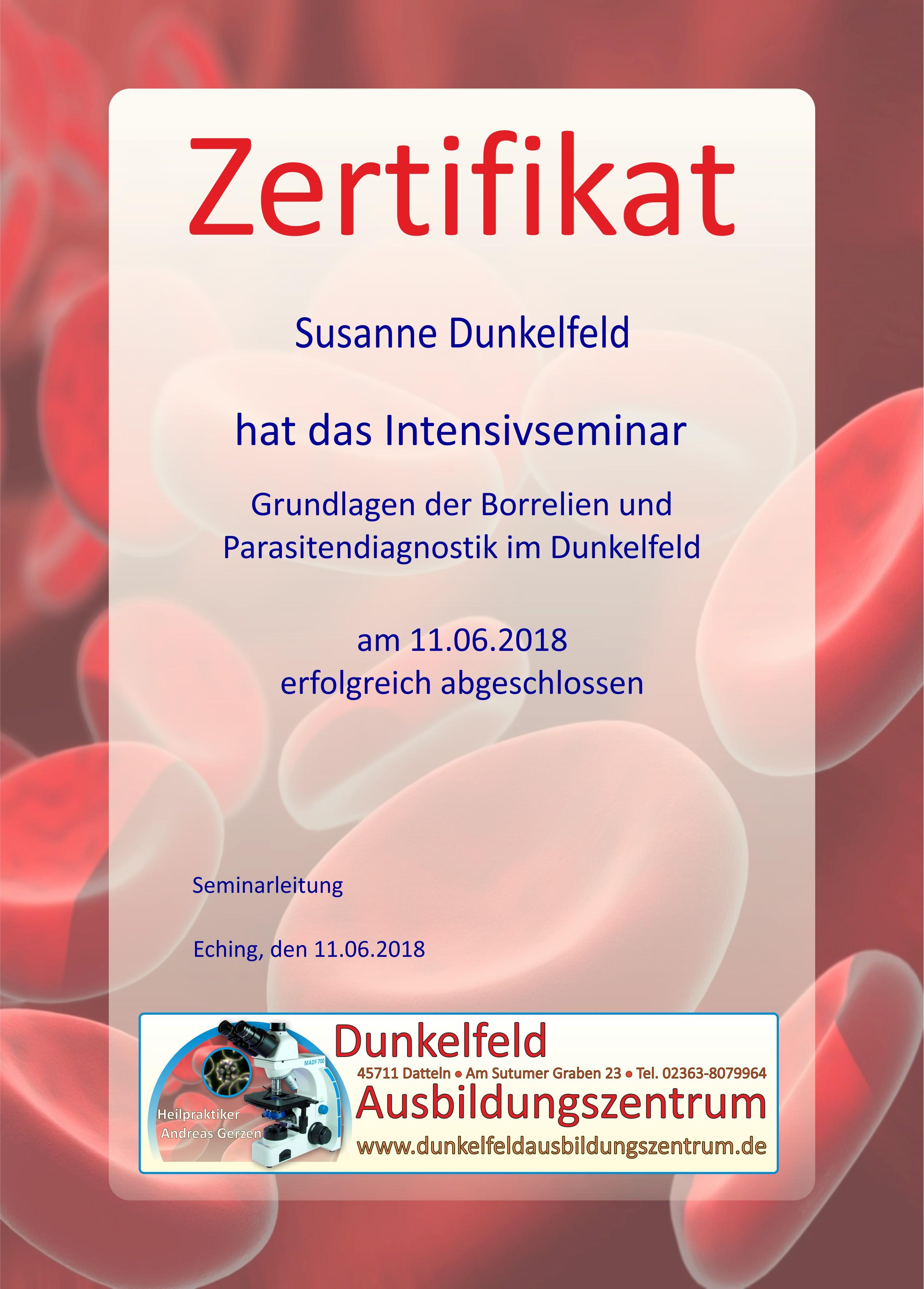 Zertifikat für Teilnehmer DF Borrelien